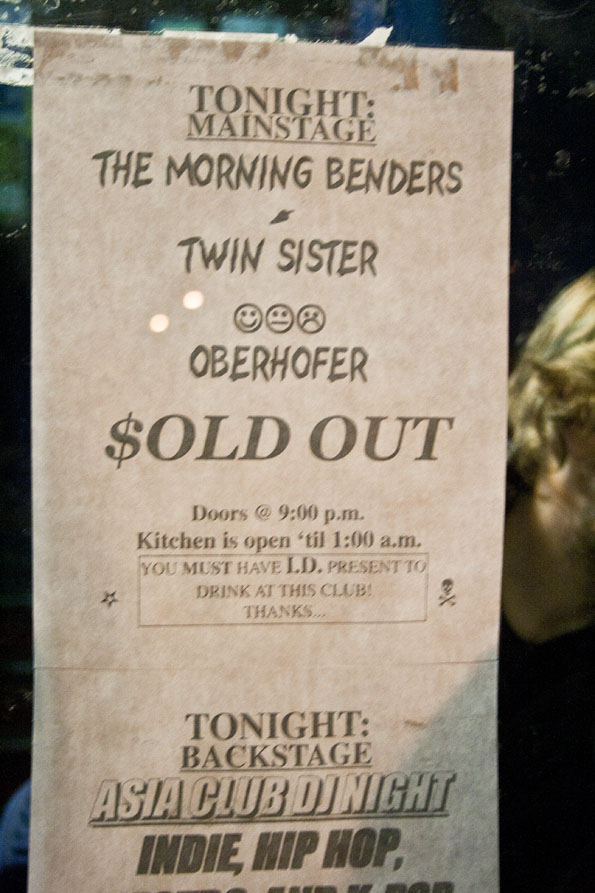 Morning Benders, Twin Sister, Oberhofer Sold Out sign